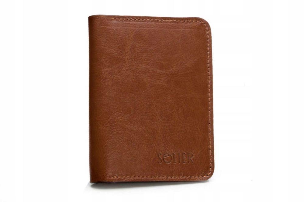 8e6b0e0e47015 Cienki skórzany męski portfel SOLIER SW10 SLIM BRĄZ - Kup teraz Online