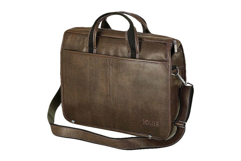 Męska torba na ramię laptopa SOLIER S13 brązowa