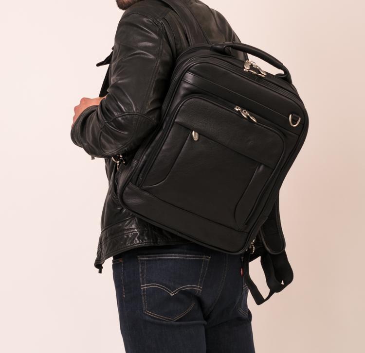 Plecak męski, skórzany na laptopa Lincoln Park, czarny 15,6