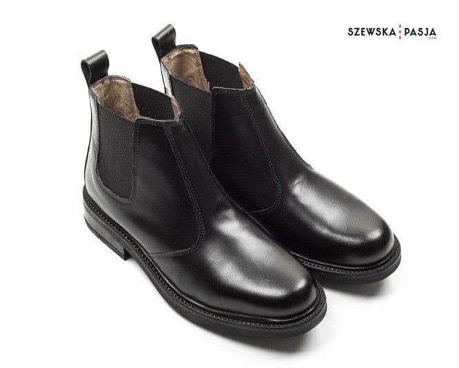 85a8b6ce71539 Skórzane czarne sztyblety męskie Chelsea - - Kup teraz Online