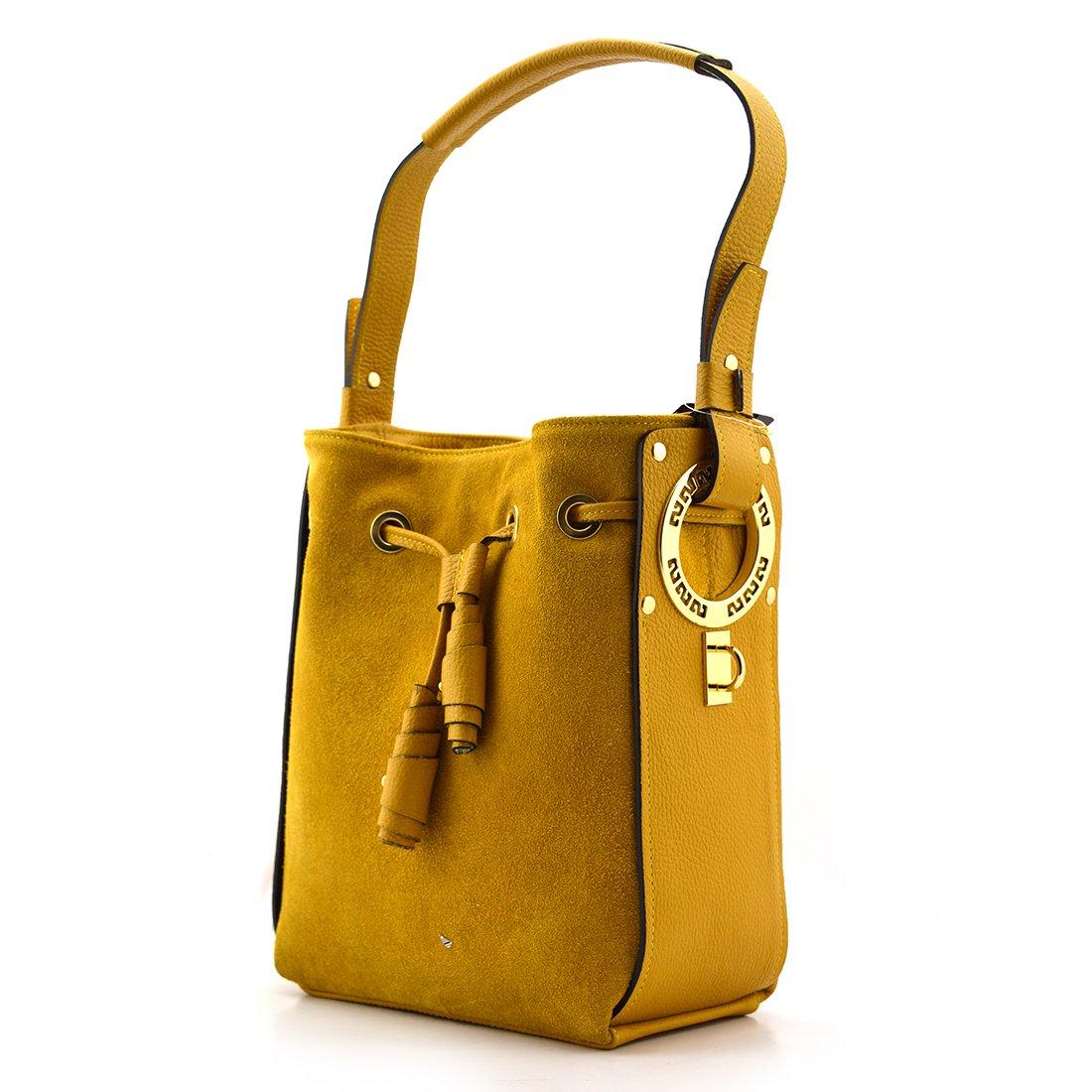 15f20674fb55d Torebka skórzana vp870 żółty - Zamsz naturalny   żółty - Kup teraz Online