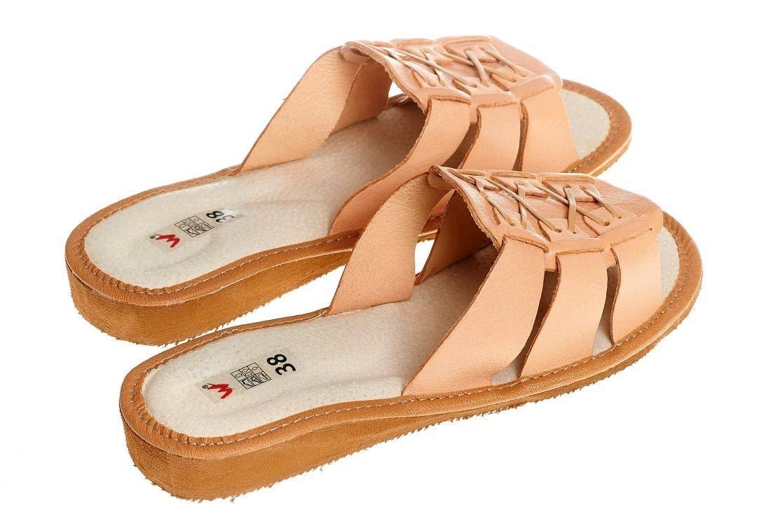 Wójciak p10 Naturalne pantofle skórzane damskie