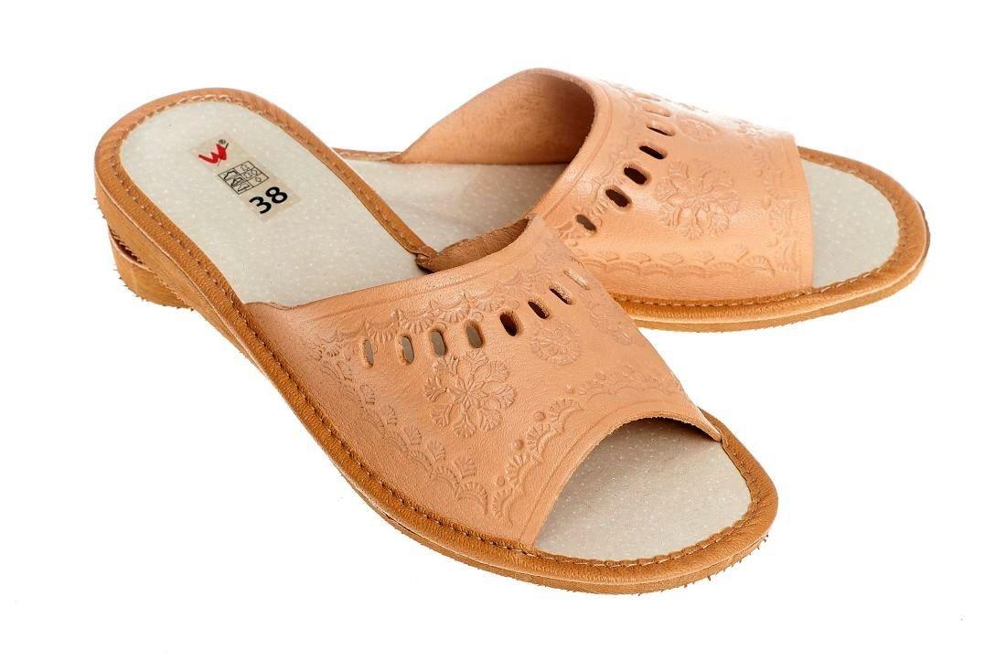 Wójciak p13 Naturalne pantofle skórzane damskie