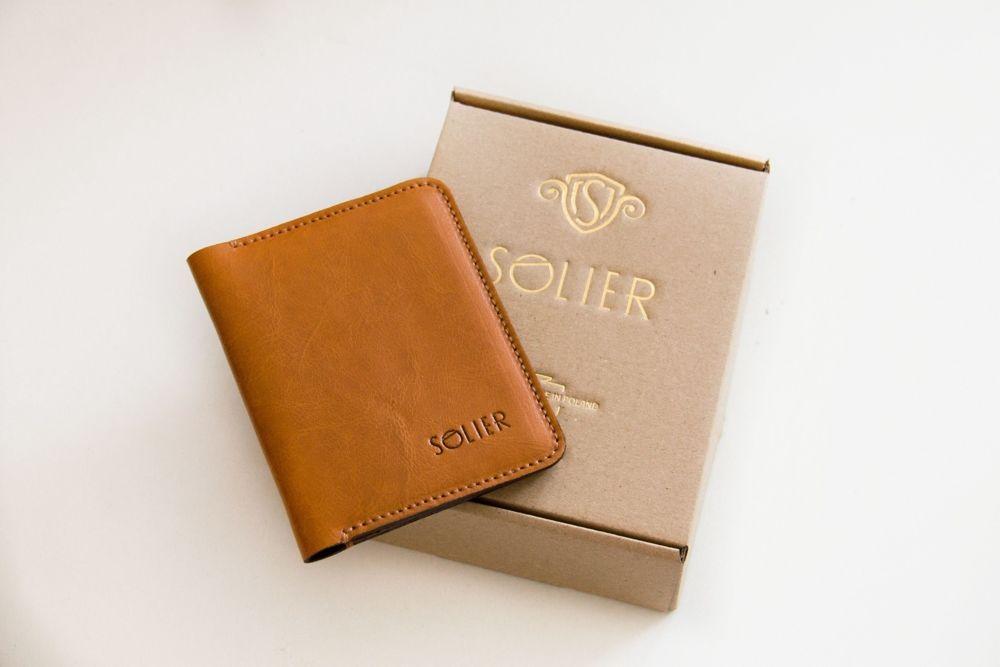 Cienki portfel męski skórzany SW16A ciemny brąz